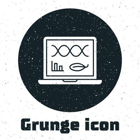 Grunge Genetic engineering modification on laptop icon isolated on white background. DNA analysis, genetics testing, cloning. Vector Illustration
