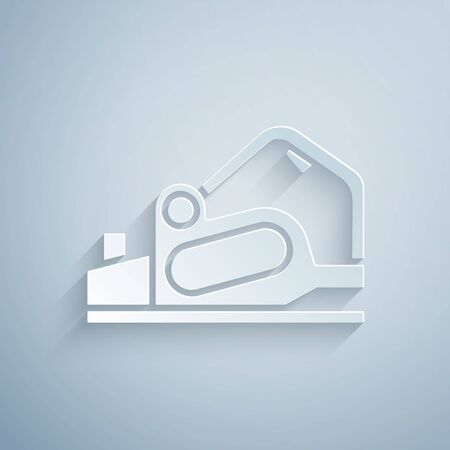 Paper cut Electric planer tool icon isolated on grey background. Paper art style. Vector Illustration