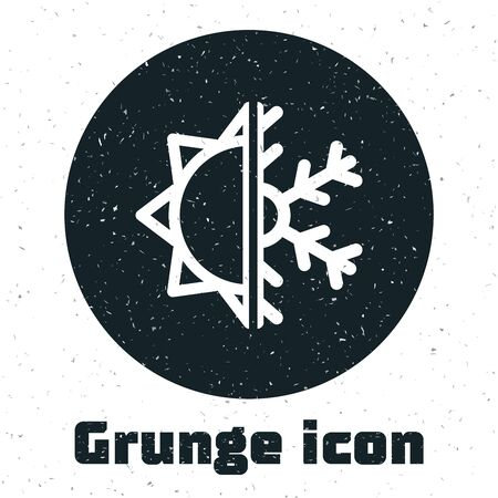 Grunge Hot and cold symbol. Sun and snowflake icon isolated on white background. Winter and summer symbol. Vector Illustration