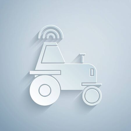 Paper cut Self driving wireless tractor on a smart farm icon isolated on grey background. Smart agriculture implement element. Paper art style. Vector Illustration