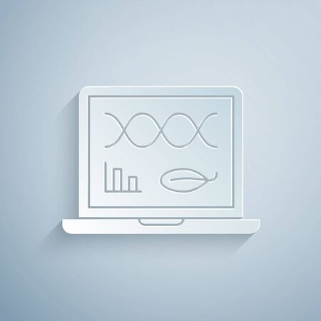 Paper cut Genetic engineering modification on laptop icon isolated on grey background. DNA analysis, genetics testing, cloning. Paper art style. Vector Illustration