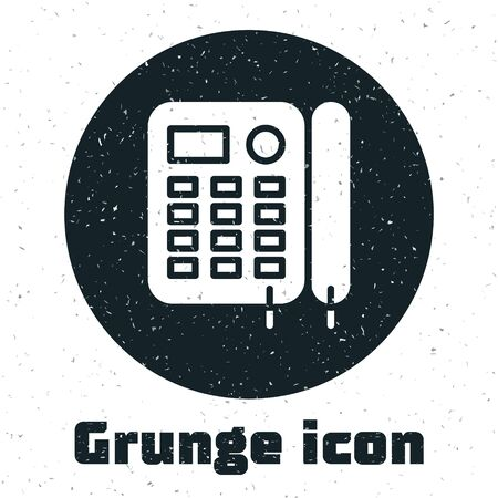 Grunge Telephone icon isolated on white background. Landline phone. Vector Illustration Foto de archivo - 136807161