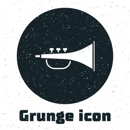 Grunge Musical instrument trumpet icon isolated on white background. Vector Illustration