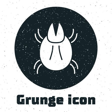 Grunge Parasite mite icon isolated on white background. Vector Illustration Illustration