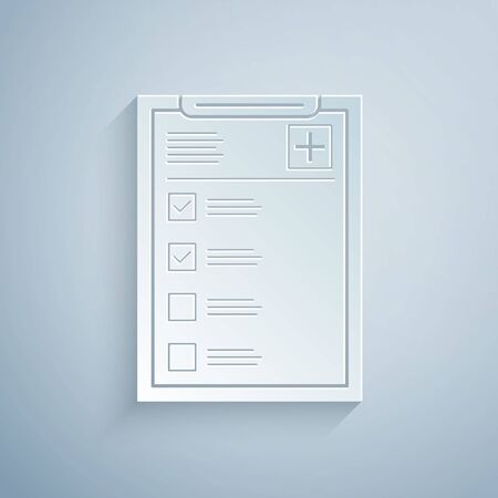 Paper cut Medical clipboard with clinical record icon isolated on grey background. Health insurance form. Prescription, medical check marks report. Paper art style. Vector Illustration