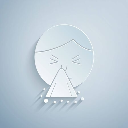 Paper cut Man holding handkerchief or napkin to his runny nose icon isolated on grey background. Coryza desease symptoms. Paper art style. Vector Illustration