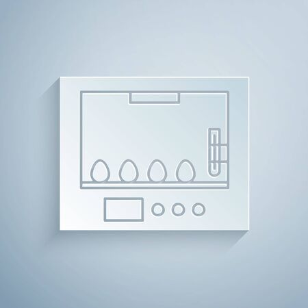 Paper cut Incubator for eggs icon isolated on grey background. Paper art style. Vector Illustration Vector Illustration