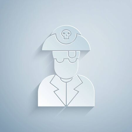 Paper cut Pirate captain icon isolated on grey background. Paper art style. Vector Illustration