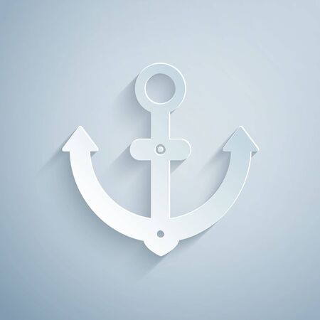 Paper cut Anchor icon isolated on grey background. Paper art style. Vector Illustration Ilustrace