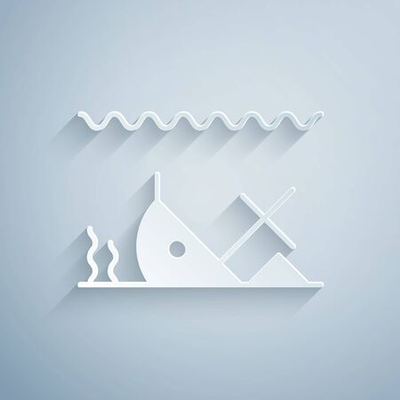 Paper cut Sunken ship at the bottom of the sea icon isolated on grey background. Paper art style. Vector Illustration Foto de archivo - 136807801
