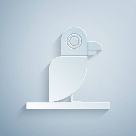 Paper cut Pirate parrot icon isolated on grey background. Paper art style. Vector Illustration