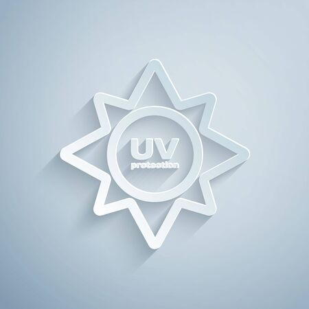 Paper cut UV protection icon isolated on grey background. Ultra violet rays radiation. SPF sun sign. Paper art style. Vector Illustration