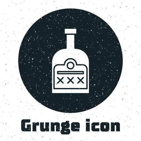 Grunge Alcohol drink Rum bottle icon isolated on white background. Vector Illustration