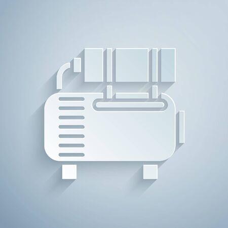 Icône de compresseur d'air coupée en papier isolé sur fond gris. Style d'art du papier. Illustration vectorielle