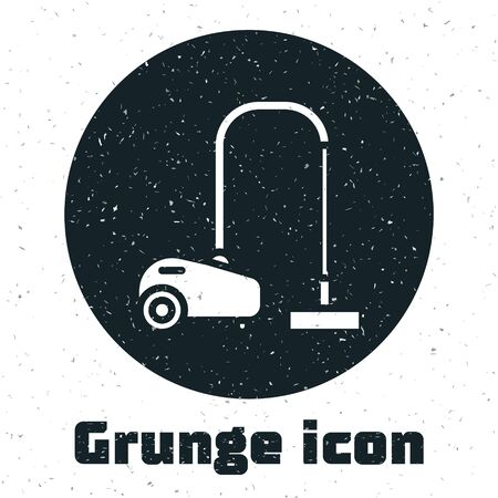 Grunge Vacuum cleaner icon isolated on white background. Vector Illustration