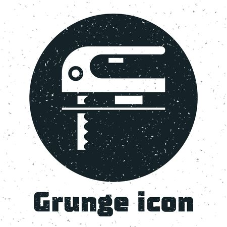 Grunge Electric jigsaw with steel sharp blade icon isolated on white background. Power tool for woodwork. Vector Illustration