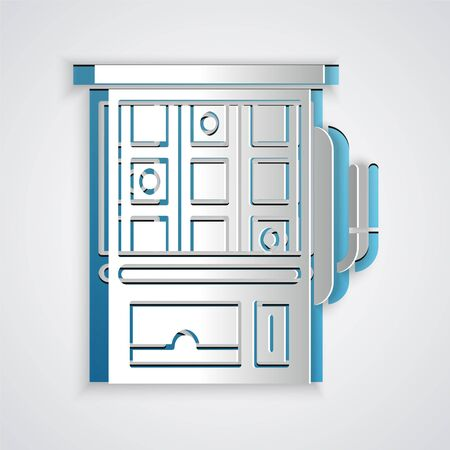 Paper cut Slot machine icon isolated on grey background. Paper art style. Vector Illustration