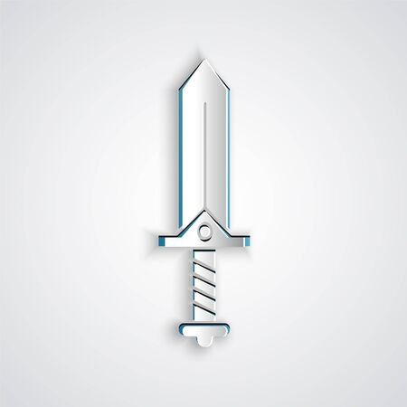 Paper cut Sword for game icon isolated on grey background. Paper art style. Vector Illustration