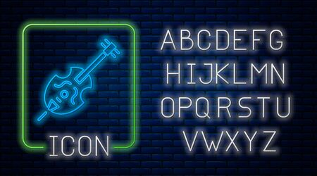 Glowing neon Violin icon isolated on brick wall background. Musical instrument. Neon light alphabet. Vector Illustration