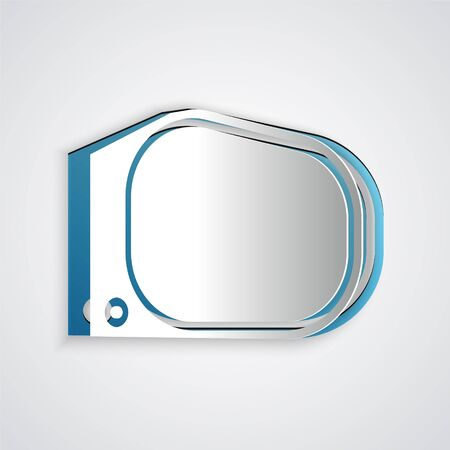 Paper cut Car mirror icon isolated on grey background. Paper art style. Vector Illustration
