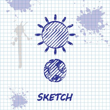 Sketch line Solstice icon isolated on white background. Vector Illustration Stock Illustratie