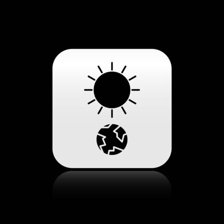 Black Solstice icon isolated on black background. Silver square button. Vector Illustration