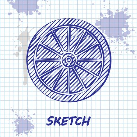 Sketch line Car wheel icon isolated on white background. Vector Illustration Vetores