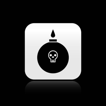 Black Bomb ready to explode icon isolated on black background. Silver square button. Vector Illustration Vettoriali
