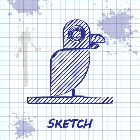 Sketch line Pirate parrot icon isolated on white background. Vector Illustration Illustration