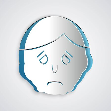 Paper cut Inflammation on face icon isolated on grey background. Paper art style. Vector Illustration