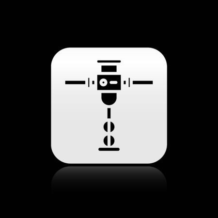Black Construction jackhammer icon isolated on black background. Silver square button. Vector Illustration