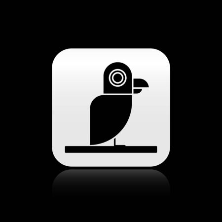 Black Pirate parrot icon isolated on black background. Silver square button. Vector Illustration