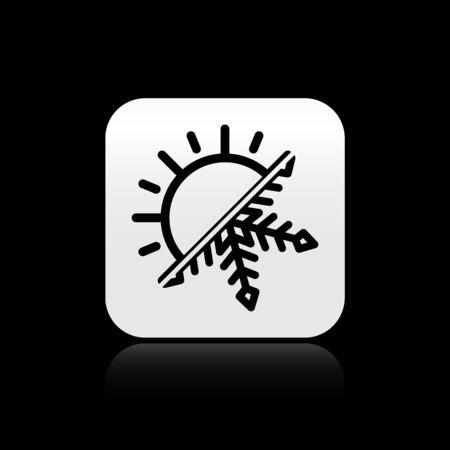 Black Hot and cold symbol. Sun and snowflake icon isolated on black background. Winter and summer symbol. Silver square button. Vector Illustration Vektoros illusztráció
