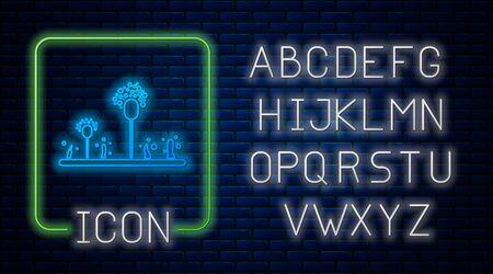 Glowing neon Mold icon isolated on brick wall background. Neon light alphabet. Vector Illustration