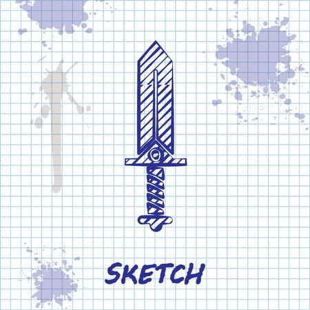 Sketch line Sword for game icon isolated on white background. Vector Illustration