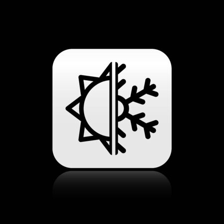 Black Hot and cold symbol. Sun and snowflake icon isolated on black background. Winter and summer symbol. Silver square button. Vector Illustration