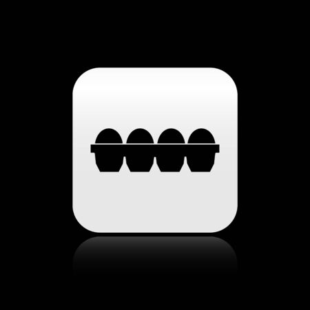 Black Chicken egg in box icon isolated on black background. Silver square button. Vector Illustration Ilustração