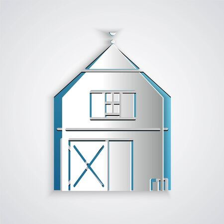 Paper cut Farm House concept icon isolated on grey background. Rustic farm landscape. Paper art style. Vector Illustration Stock Illustratie