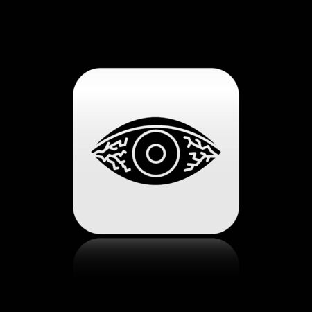 Black Reddish eye due to viral, bacterial or allergic conjunctivitis icon isolated on black background. Silver square button. Vector Illustration