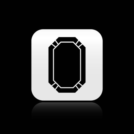 Black Poker table icon isolated on black background. Silver square button. Vector Illustration