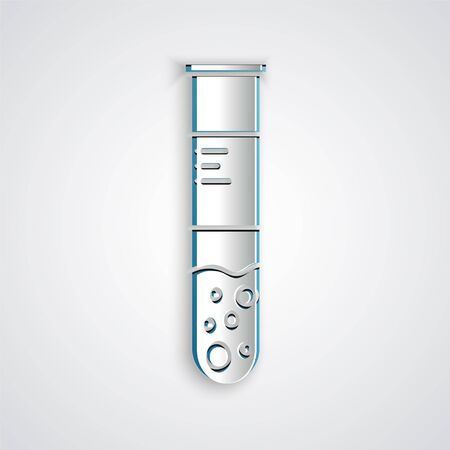 Paper cut Test tube and flask chemical laboratory test icon isolated on grey background. Laboratory glassware sign. Paper art style. Vector Illustration