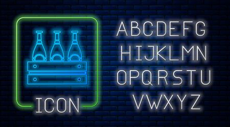 Glowing neon Pack of beer bottles icon isolated on brick wall background. Wooden box and beer bottles. Case crate beer box sign. Neon light alphabet. Vector Illustration
