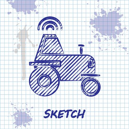 Sketch line Self driving wireless tractor on a smart farm icon isolated on white background. Smart agriculture implement element. Vector Illustration