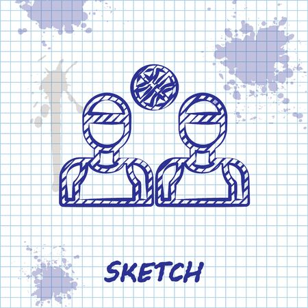 Sketch line Basketball players icon isolated on white background. Vector Illustration Stock fotó - 136869727