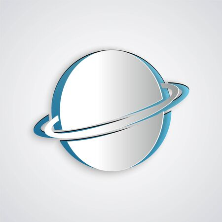 Paper cut Planet Saturn with planetary ring system icon isolated on grey background. Paper art style. Vector Illustration