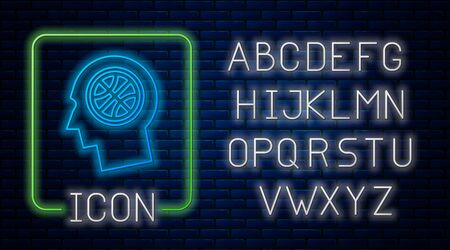 Glowing neon Thoughts on a basketball icon isolated on brick wall background. Neon light alphabet. Vector Illustration