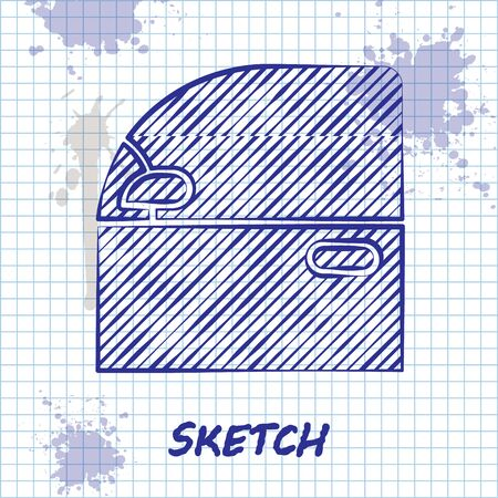 Sketch line Car door icon isolated on white background. Vector Illustration