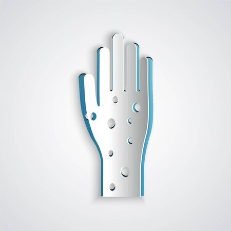 Paper cut Hand with psoriasis or eczema icon isolated on grey background. Concept of human skin response to allergen or chronic body problem. Paper art style. Vector Illustration