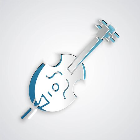 Paper cut Violin icon isolated on grey background. Musical instrument. Paper art style. Vector Illustration