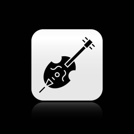Black Violin icon isolated on black background. Musical instrument. Silver square button. Vector Illustration Çizim